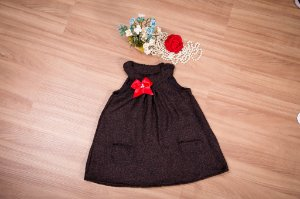 Vestido Trapézio lanzinha Marrom  - Infantil