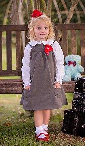 Vestido Trapézio lanzinha Com Camisa - coleçao de inverno infantil