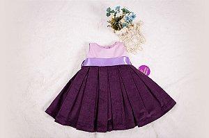 Vestido Violeta Prega Macho - coleção de inverno infantil