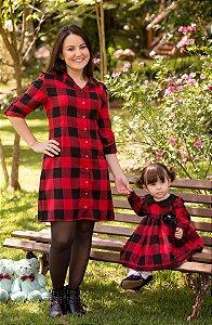 Chemise Xadrez e Vestido Manga longa- Mãe e Filha