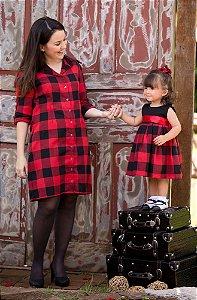 Chemise Xadrez e Vestido Prega Macho- Mãe e Filha