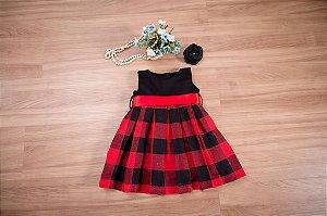 Vestido Prega Macho Xadrez - coleção de inverno infantil