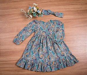 Vestido Floral de Inverno- coleção de inverno infantil