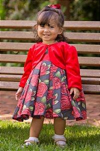 Vestido Floral Com Bolero - coleção de inverno infantil