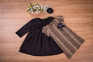 Conjunto sobre tudo e vestido  - coleção de inverno infantil