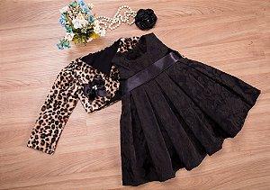 Vestido Jacar preto Com Bolero   - coleção de inverno infantil