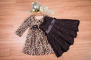Conjunto Sobre tudo Oncinha e vestido- coleção de inverno infantil
