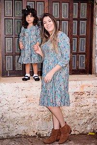 Vestido Floral de Inverno - Mãe e filha