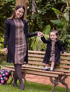Cardigan vestido de Oncinha -Mãe e Filha