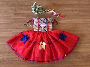 Vestido de Festa Junina Vermelho  - vestidos para festa junina