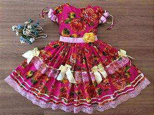 Vestido Festa Junina Floral - estidos para festa junina