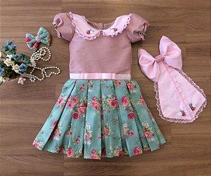 Vestido de Festa  Floral   -Vestido Infantil
