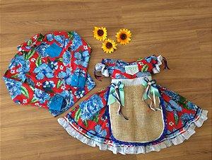 Vestido de Festa Junina e Camisa Infantil Floral - vestidos para festa junina