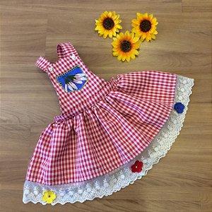 Jardineira Saia Xadrez- vestidos para festa junina