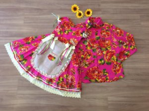Vestido e Camisa Floral Festa Junina -vestidos para festa junina