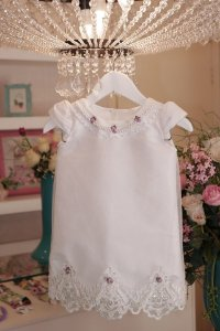 Vestido  Trapezio Branco Luxo  - Infantil