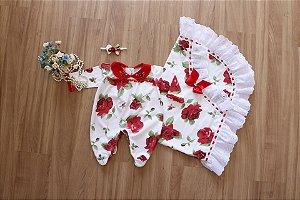 Saída de Maternidade Floral Vermelho - Bebês