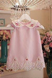 Vestido Trapezio  Rosa Luxo  - Infantil