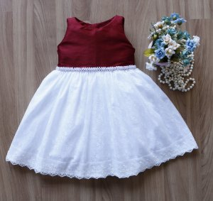 Vestido de Festa Marsala Com Branco  - PROMOÇÕES
