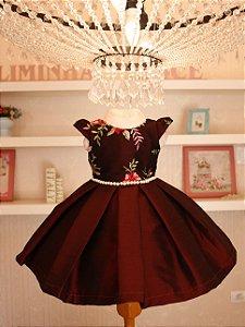 Vestido Floral Com Marsala- PROMOÇÕES