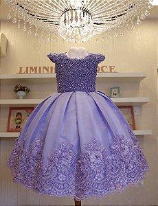 Vestido Luxo Lilas Bordado Em Perolas  - Infantil