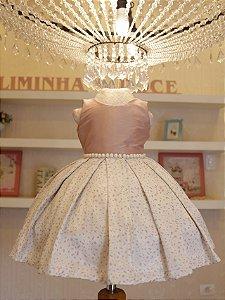 Vestido de Daminha Rose  - Promoçao