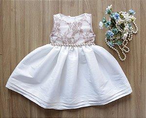 Vestido Off White Com Rose   - Promoçao