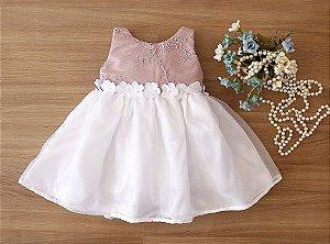 Vestido de Daminha Rose Com Branco - Promoçao