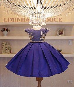 Vestido de Festa Azul Violeta Com Dourado - Vestido de Festa