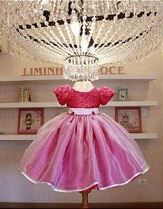 Vestido de  Princesa Pink - Vestido de Festa Infantil