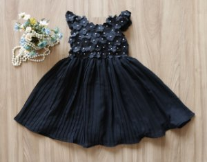 Vestido Plissado Preto - Vestido de festa Infantil