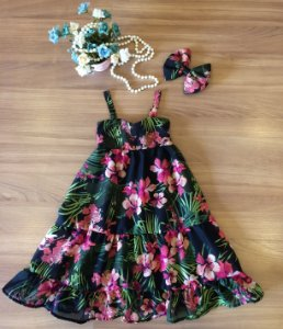 Vestido Longo Floral Preto Infantil - Vestido de Festa