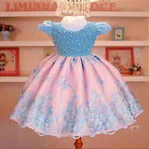 Vestido Luxo Azul com rosa  - Daminha de Honra
