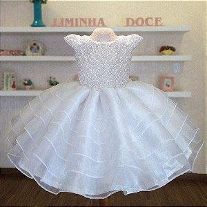 Vestido para daminha branco   - Daminha de Honra