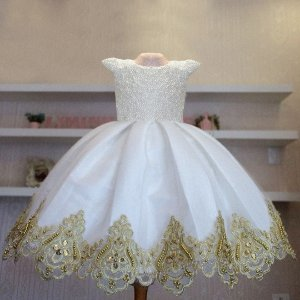 Vestido Para Formatura Branco com dourado- Infantil