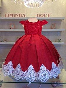 Vestido de festa vermelho luxo - vestido infantil