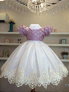 Vestido Dama rose com branco  - Dama de Honra