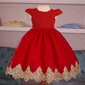 Vestido de festa vermelho com dourado - vestido de formatura