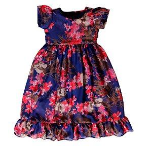 Vestido Floral Azul Dia Dia - Vestido Infantil
