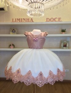 Vestido Daminha Rose Com Branco- Dama de Honra