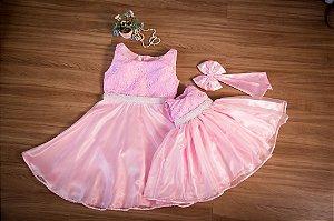 Vestido Rosa Mae e Filha - Look Mae e Filha