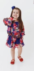 vestido siganinha floral azul- promoçao dias das crianças