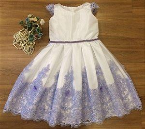 Vestido Lilas Com Branco  - Vestidos Daminha
