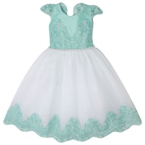 Vestido Daminha Branco Com Verde Agua  - Vestido Daminha