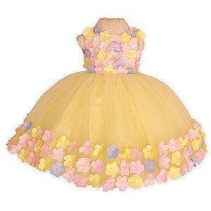 Vestido Jardim Encantado Amarelo - Vestidos de temas Infantil