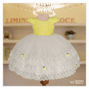 Vestido Festa Amarelo Com Branco - Vestido de  Festa