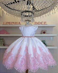 Vestido Branco Com Rosa  - Daminha de Honra