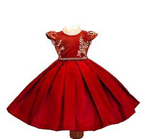 Vestido de Festa Vermelho Com Dourado  - Vestido de Festa