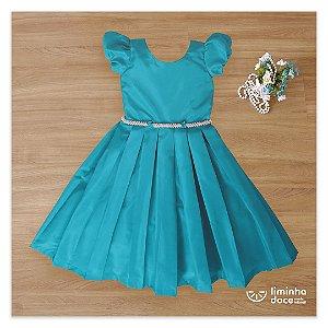 Vestido para daminha tafeta  Azul  -Daminhas de Honra