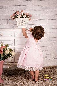 Vestido Rosa de Linho para Menina
